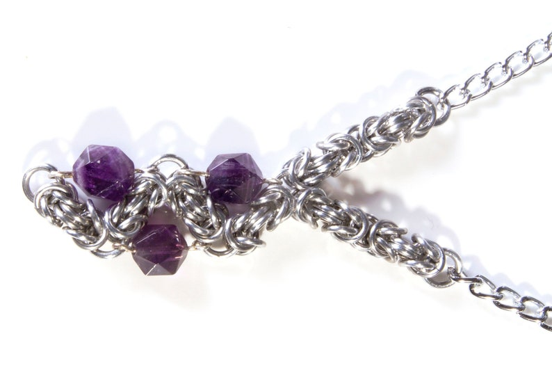 Silver Amethyst Chainmail Necklace / Modern Silver Necklace / image 0