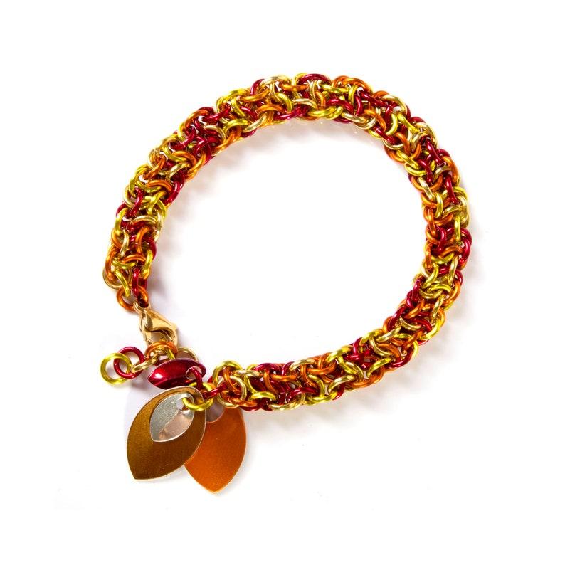 Fire Chainmail Bracelet / LARP Jewellery / Flame Bracelet / image 0