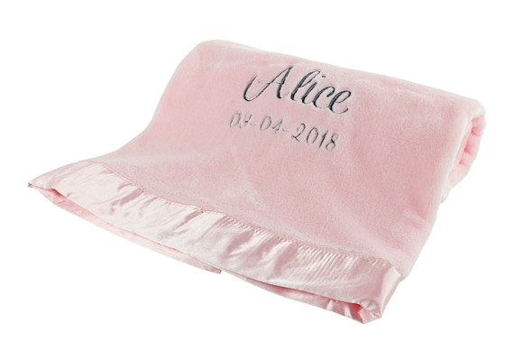 Personalized Baby Blanket Very Soft Mink Fleece Pink Personalized Baby Blanket for Girls