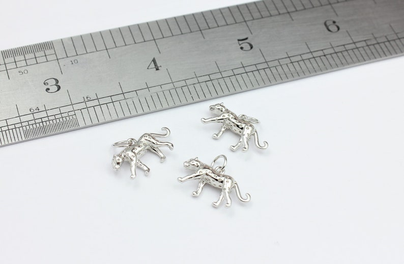 by Jewellery Making supplies London JMSLondonCo 1 x Platinum Plated Brass Piece with Jump Ring 1 x Leopard Pendant Charm