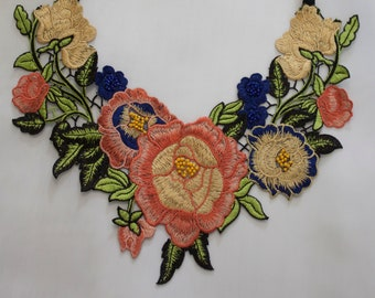 Hand Beaded Floral Lace Statement Necklace Bib Collar