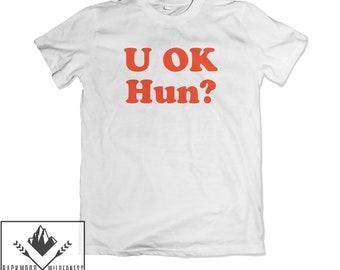 U OK HUN? SWEATSHIRT red on yellow JH030 COOL SLOGAN FUNNY YOU OKAY