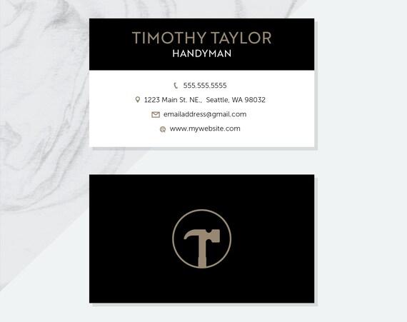 premade handyman business card design pdf digital files etsy