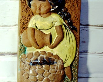 Swedish Ceramic Wall Plaque with Blond Girl made in Sweden Wall Tile from the 60s Bromma Keramik