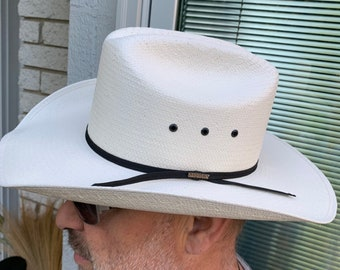 13d30a7b9063 Stetson White Unisex Cowboy Hat with Leather Band/ High Quality Straw  Summer Hat made in Mexico