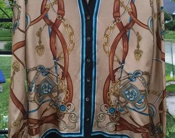 7241cadfaa9c0f Dana Buchman Equestrian Silk Blouse size 10 New