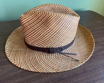 63e8d88f5dd7f Vintage Stetson Men s Straw Hat with Leather Band  High Quality Men s Straw  Summer Hat