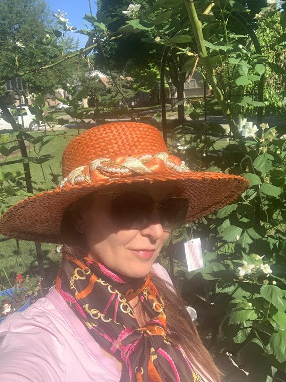 Vintage Orange Straw Summer Hat Made in Italy - image 8