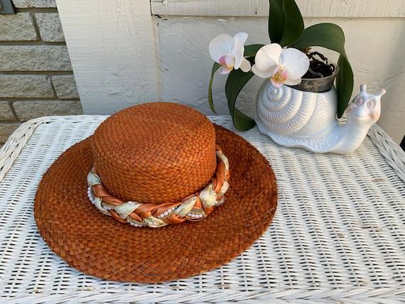 Vintage Orange Straw Summer Hat Made in Italy - image 1