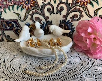 White Porcelain Soap Dish/Ring Holder / white Ceramic Ring Holder Dish with Birds