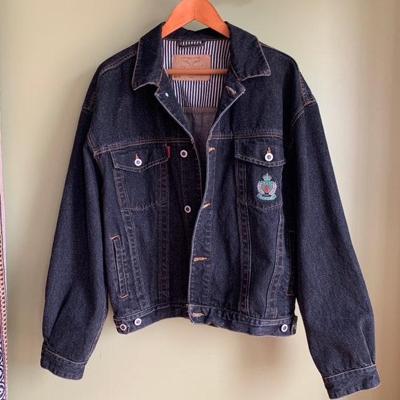 Vintage Montana Black Denim Jacket/ Oversized Deni