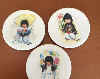 DeGrazia drink tea coasters CHILDREN of THE SOUTHWEST Vintage