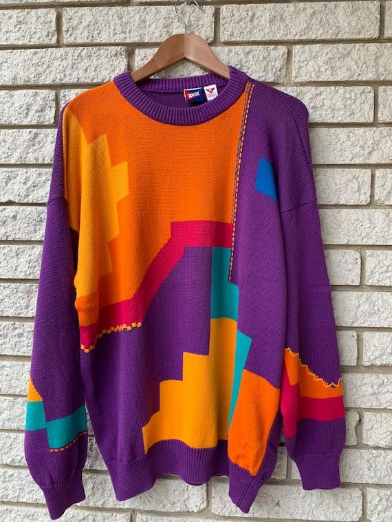 Vintage from 80s Oversized Unisex Sweater/ Colorfu