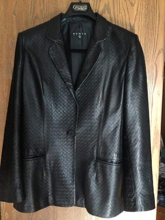b53239946fc8 Women Black Leather Jacket/ Blazer size 10 PENTA made in USA | Etsy