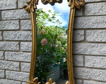 Vintage Gold Tone Ornate Frame Mirror/ Large Faux Wood Frame Wall Mirror