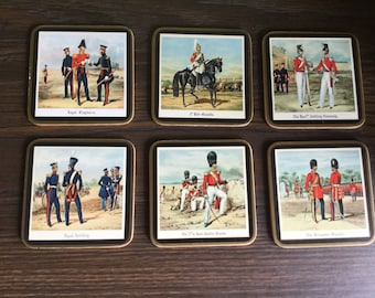 Vintage Pimpernel Coasters Cork Back and Gold trim set of six England