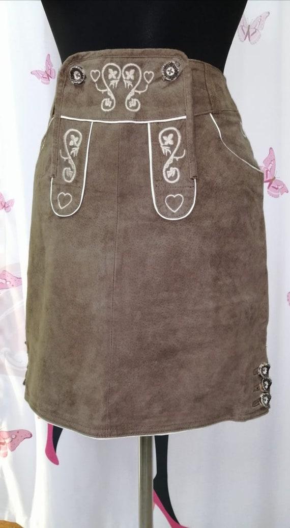 Khaki Green Suede Skirt/ Boho Embroidery Suede Ski
