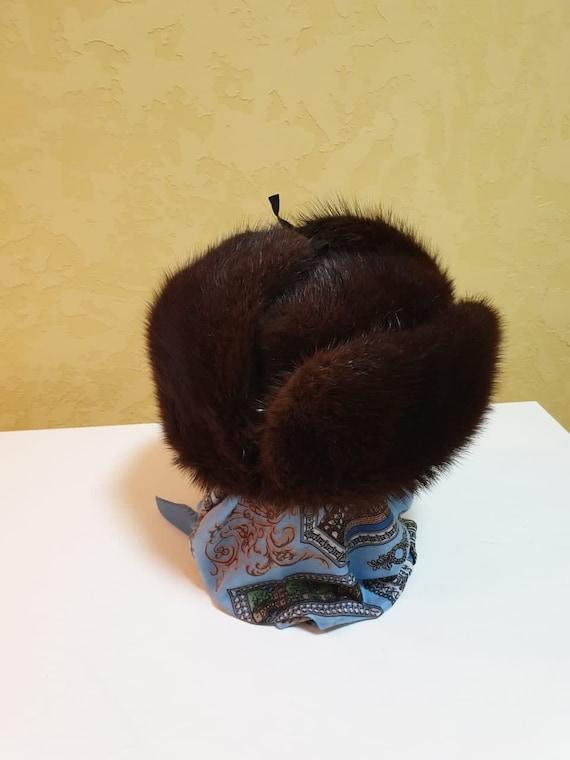 Vintage Winter Muskrat Fur  Hat /Trapper Muskrat H