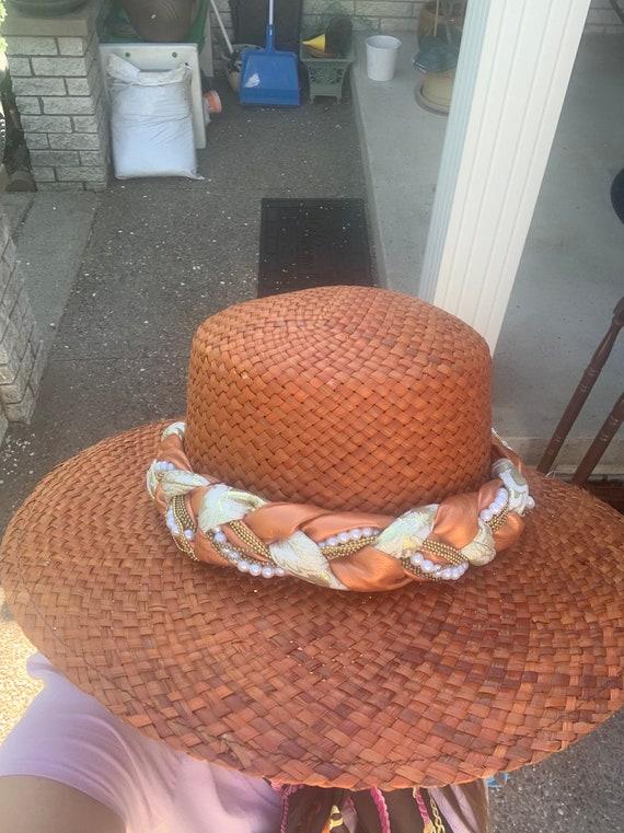 Vintage Orange Straw Summer Hat Made in Italy - image 4