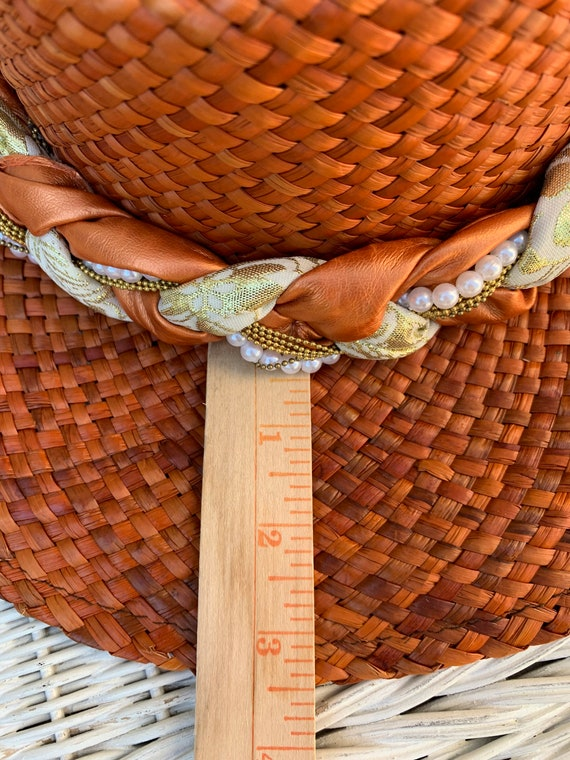 Vintage Orange Straw Summer Hat Made in Italy - image 6