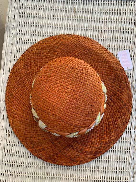 Vintage Orange Straw Summer Hat Made in Italy - image 2