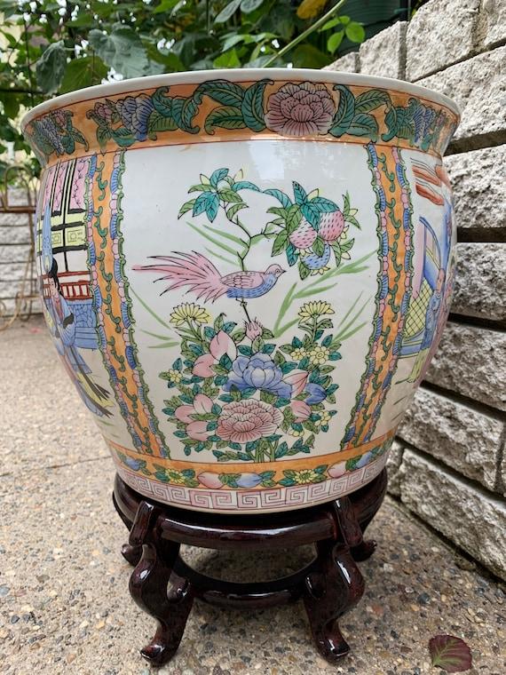 Vintage Chinese Large Fish Bowl Planter Ceramic Family Etsy
