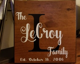 Personalized Hand Painted Wood Sign, Family Name Sign, Established Date Sign, Last Name Sign, Monogram Sign, Rustic Wood Sign