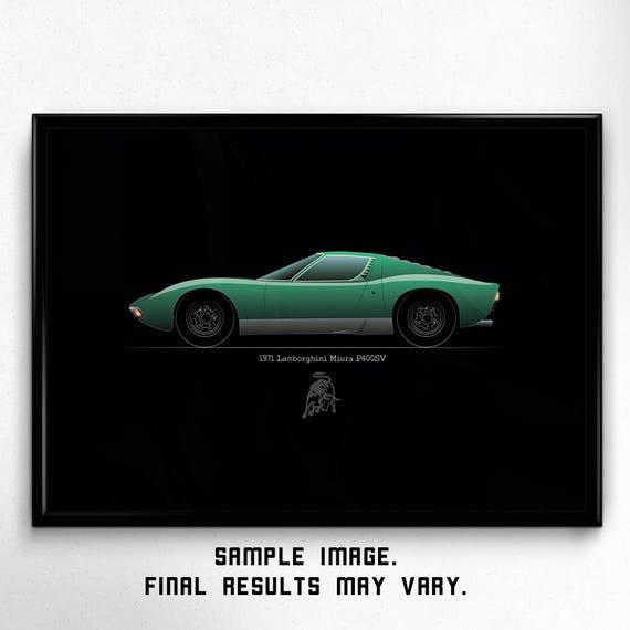 Digital Printable Car Art Lamborghini Miura Classic Sport Etsy