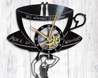 Alice in Wonderland Vinyl Wall Clock Tea Party alice clock alice in wonderland decorations
