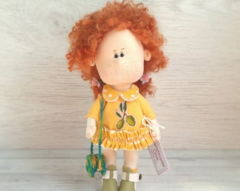 Handmade interior doll Fabric doll Decor doll Collectible doll Dolls handmade Textile doll Red hair doll Home decor doll Unique tilda doll