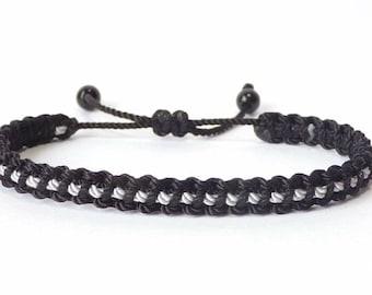 d3fb18dcfae147 Thin Grey Line braided bracelet -Corrections Officer wristband -new  -handmade -for man & woman