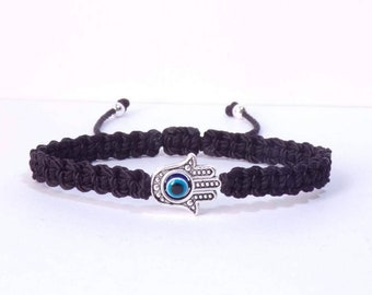 Hamsa hand black string bracelet, for happiness, luck, health, and good fortune, new. good luck and evil eye charm for man and woman