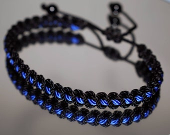 Police Thin blue line bracelet, thin blue line bracelet -support Police wristband -braided -new -adjustable for man and woman