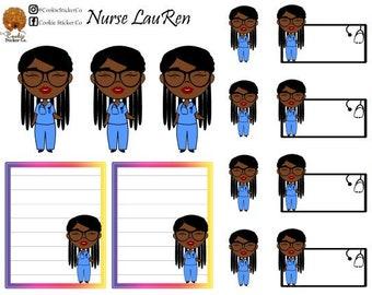 Nurse LauRen - African American Planner Stickers
