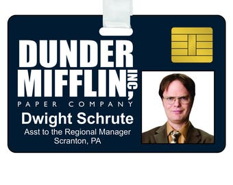 photograph about Dwight Schrute Id Badge Printable identify Dwight cosplay Etsy