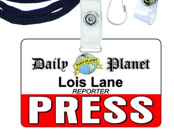 photo relating to Lois Lane Press Pass Printable named Clark Kent Every day Earth Thrust P Novelty Identification Badge for Etsy
