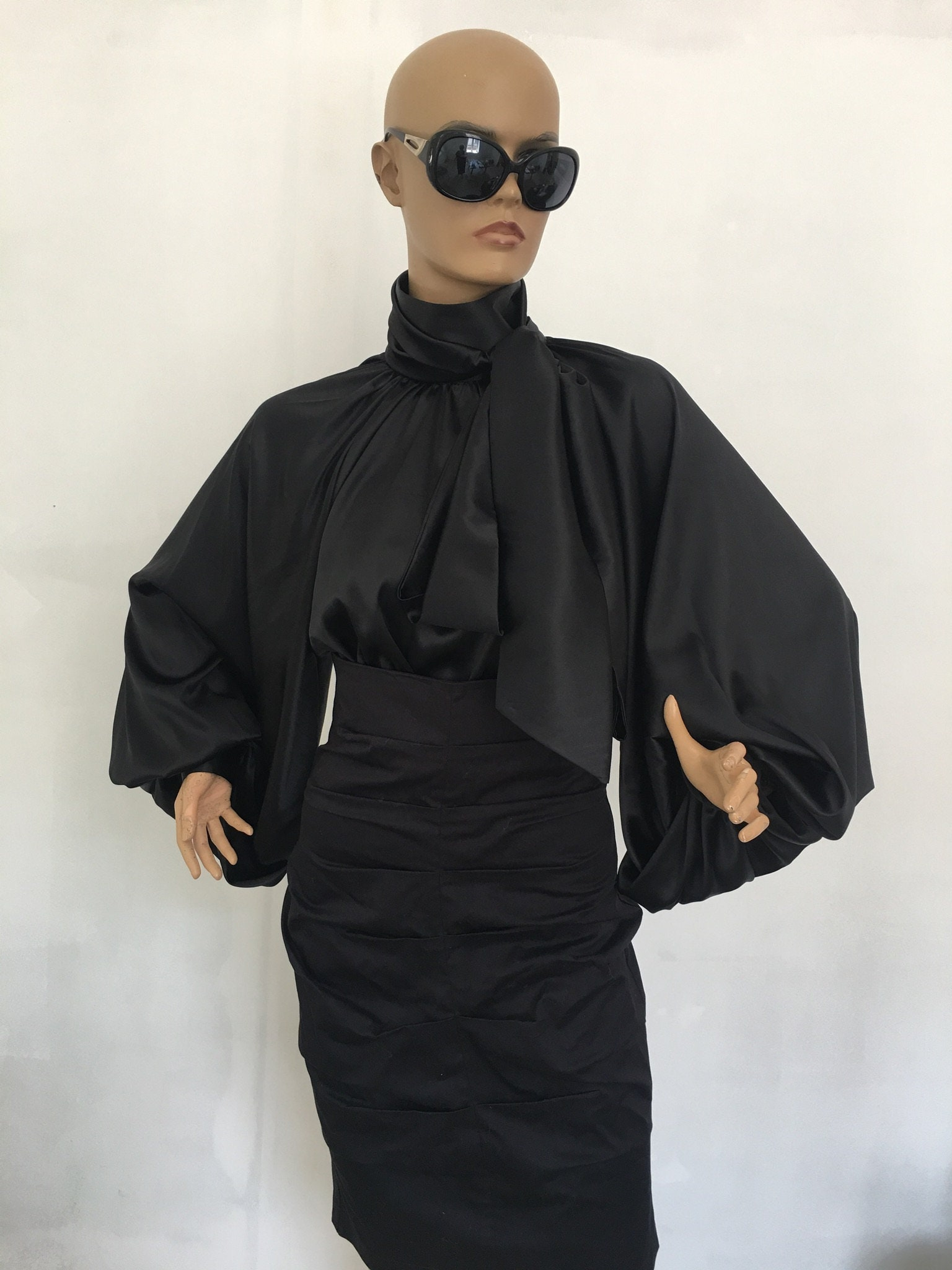 89a6543ea0802 Black silk blouse Puff sleeves blouse Silk Satin Shirt