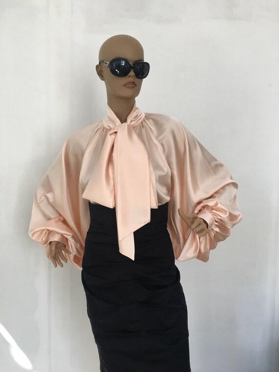 Rose gold silk blouse Puff sleeves blouse Silk Satin Shirt  f3558a9a7