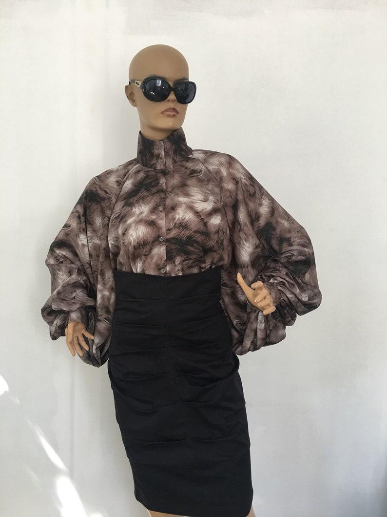 Formal satin blouse Printed satin blouse Cocktail satin blouse Silk  Satin Shirt Victorian collar  silk blouse Puff sleeves blouse