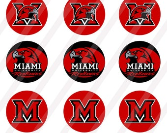 Miami Redhawks digital collage  for bottle cap 1 inch round  sheet size 4x6 - INSTANT DOWNLOAD