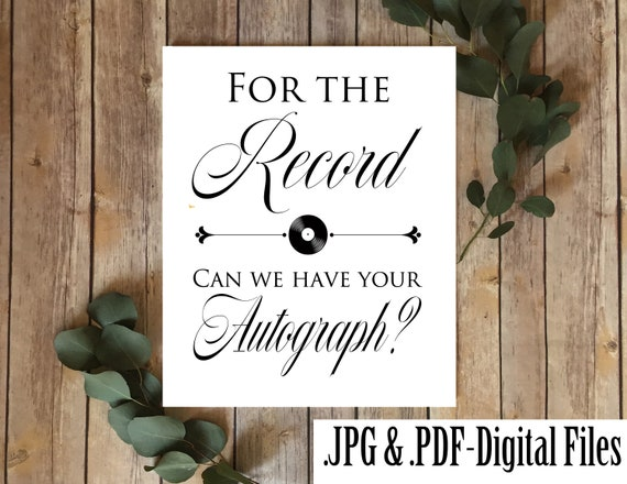 pdf for the record guest book wedding ceremony sign