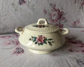 Rare Vintage Homer Laughlin China, Trellis Sugar Bowl, QO10 pattern