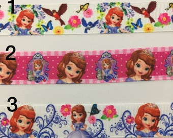 Sofia The First 3 yards 7/8 Grosgrain Ribbon, Disney Character