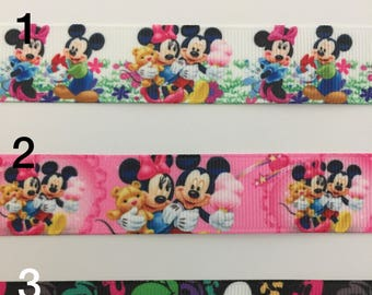 Mickey and Minnie 3 yards 7/8 Grosgrain Ribbon, Disney Characters