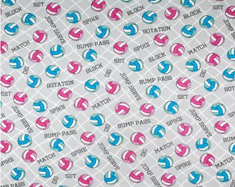 Fabric sold by the yard Volley All Over VolleyBall Talk Phrases Match Dig Bump Pass Jump Serve Spike Set Net 100/% Cotton Flannel Fabric