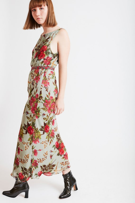 Sherbet Green Floral Midi Dress