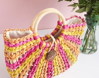 Rainbow Raffia Lined Tote Bag