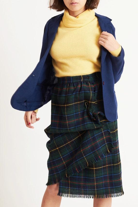 Tartan Plaid Wool Wrap Skirt with Horse Clip Closu