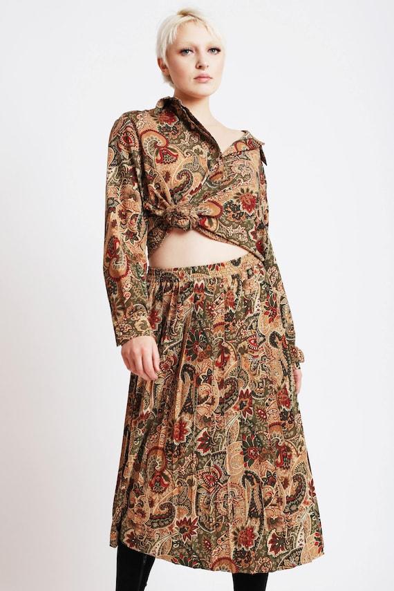 Paisley Blouse + Pleated Skirt Set