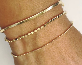 Dainty Bracelet Set  Initial Bracelet  Gold Chain Bracelet  Delicate Bracelet  Bridesmaid Bracelet  Layering Bracelet  Gift Ideas
